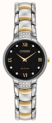 Citizen Womens 24 Diamond Two Tone Bracelet Black Dial EX1464-54E
