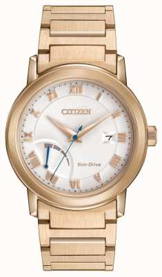 Citizen Mens Eco-Drive Gold Plated Bracelet Power Reserve AW7023-52A