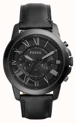 Fossil Mens Black Leather Strap Black Chronograph Dial FS5132