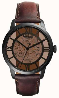 Fossil Mens Dark Brown Leather Strap Round Brown Dial ME3098