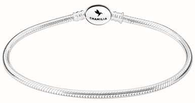 Chamilia Sterling Silver Oval Snap Bracelet 6.7 Inches 1010-0163