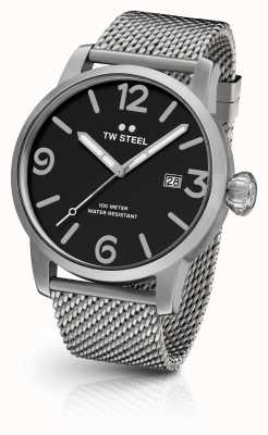 TW Steel Mens Maverick Chronograph Mesh Strap Black Dial MB13