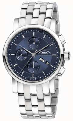 Muhle Glashutte Teutonia II Chronograph Stainless Steel Band Night Blue Dial M1-30-92-MB