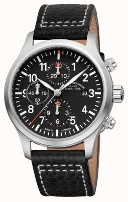 Muhle Glashutte Terrasport I Chronograph Leather Band Black Dial M1-37-74-LB