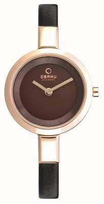 Obaku Womans Rose Gold Case Brown Leather Strap V129LXVNRN
