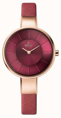 Obaku Womans Rose Gold Case Pink Leather Strap Pink Dial V149LXVQRD
