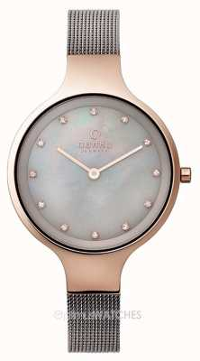 Obaku Womans Rose Gold Case Grey Mesh Strap V173LXVJMJ