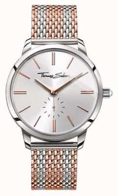 Thomas Sabo Womans Glam Spirit Two Tone Mesh Strap Rose Gold Silver WA0273-283-201-33