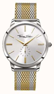 Thomas Sabo Mens Rebel Spirit Two Tone Gold Steel Mesh Strap Silver Dial WA0269-282-201-42