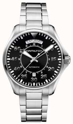 Hamilton Mens Khaki Pilot Black Dial Stainless Steel Strap H64615135