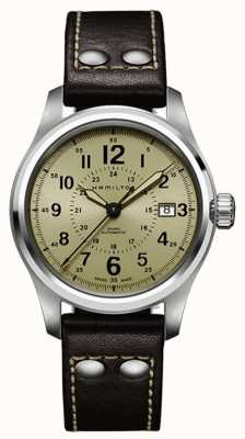 Hamilton Mens Khaki Field Auto Khaki Dial Brown Leather Strap H70595523
