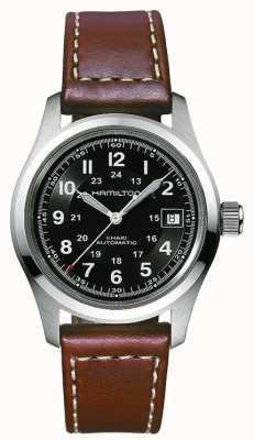 Hamilton Mens Khaki Field 38mm Auto Black Dial Brown Strap H70455533
