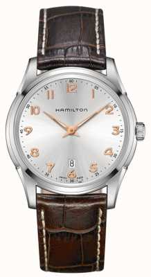 Hamilton Mens Jazzmaster Thinline Brown Leather Strap Silver Dial H38511513