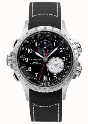 Hamilton Mens Khaki ETO Flyback Chronograph Black Rubber Strap H77612333