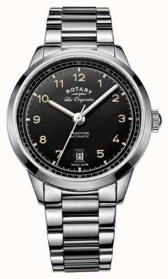Rotary Mens Tradition Automatic Stainless Steel Bracelet Black Dial GB90184/19