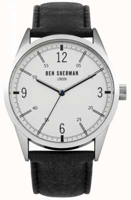 Ben Sherman Mens Black Leather Strap White Dial WB051B