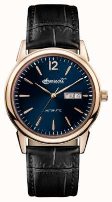 Ingersoll Mens 1892 The New Haven Black Leather Strap Blue Dial I00504
