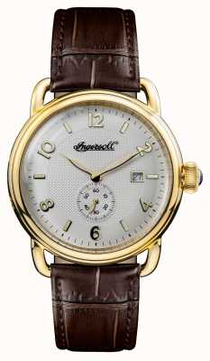 Ingersoll Mens 1892 The New England Brown Leather White Dial I00803