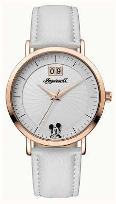Disney By Ingersoll Womens Union The Disney White Leather Strap Silver Dial ID00502