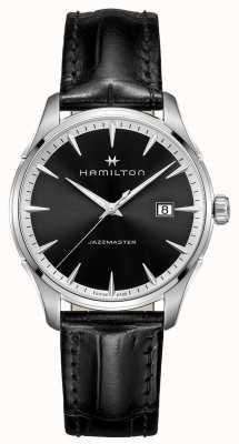 Hamilton Mens Jazzmaster Black Leather Strap Black Dial H32451731