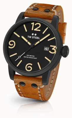 TW Steel Mens Maverick Black Sandwich Dial Tan Leather Strap 45mm MS31