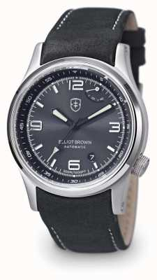Elliot Brown Mens Tyneham Black Leather Black Dial Display Caseback 305-D05-L15