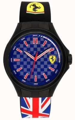 Scuderia Ferrari Mens Pit Crew Union Flag Rubber Strap Blue Dial 0830351