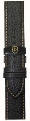 Elliot Brown Mens 22mm Black Pebbled Leather Deployant Tan Stitch Strap STR-L11