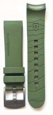 Elliot Brown Mens 22mm Green Rubber Gunmetal Tongue Buckle Strap Only STR-R04