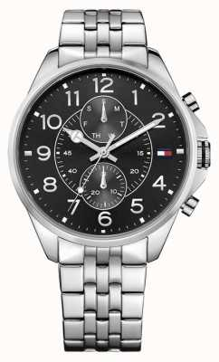 Tommy Hilfiger Mens Dean Stainless Steel Black Dial 1791276