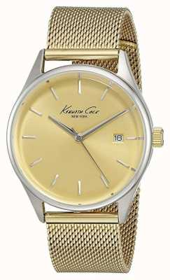 Kenneth Cole Womens Gold Tone Stainless Steel Mesh Gold Dial KC10029401