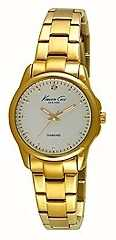 Kenneth Cole Womens Gold Tone Stainless Steel Silver Dial KC10026480
