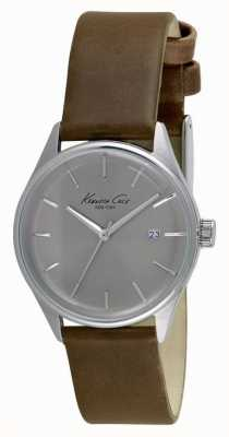 Kenneth Cole Womens Brown Leather Strap Silver Dial KC10025931