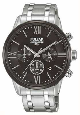 Pulsar Mens Chronograph Stainless Steel Black Dial PT3805X1