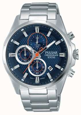 Pulsar Mens Chronograph Stainless Steel Blue Dial PM3059X1