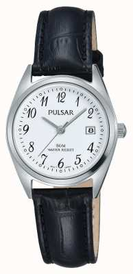 Pulsar Womens Black Leather Strap White Dial PH7447X1