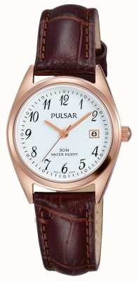 Pulsar Womens Brown Leather Strap White Dial PH7448X1