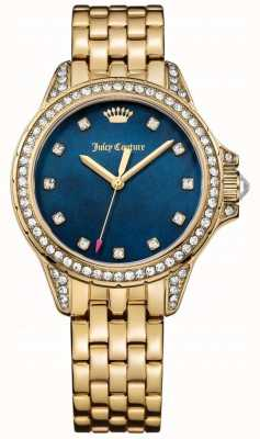 Juicy Couture Womens Malibu Gold Tone Stainless Steel Blue Mother Of Pearl 1901492