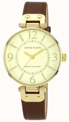 Anne Klein Womens Brown Leather Strap Gold Dial 10/N9168IVBN