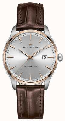Hamilton Mens Jazzmaster Brown Leather Strap Silver Dial H32441551