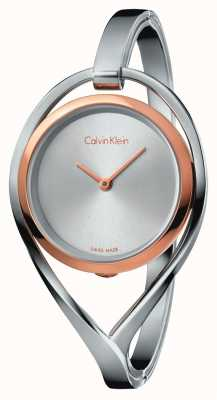Calvin Klein Womens Light Medium Stainless Steel Bangle Rose Gold Case K6L2MB16
