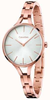 Calvin Klein Womens Graphic Rose Gold Tone Bracelet Silver Dial K7E23646