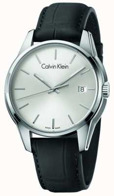 Calvin Klein Mens Tone Black Leather Strap Silver Dial K7K411C6