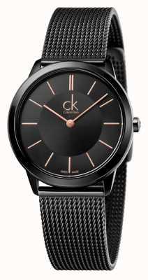 Calvin Klein Womens Minimal | Stainless Steel Black Mesh Strap | K3M22421