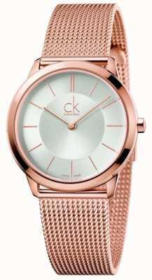 Calvin Klein Womens Minimal Rose Gold Tone Mesh Silver Dial K3M22626