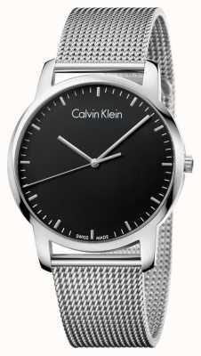 Calvin Klein Mens City Stainless Steel Mesh Strap Black Dial K2G2G121