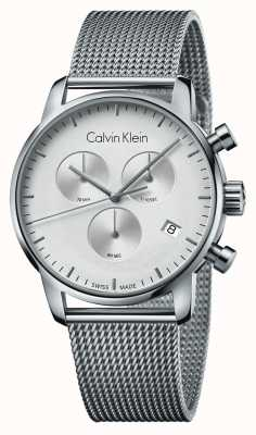 Calvin Klein Mens City Chronograph Stainless Steel White Dial K2G27126