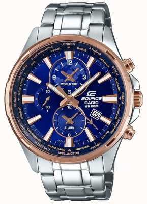 Casio Mens Edifice Stainless Steel Bracelet Blue Dial EFR-304PG-2AVUEF