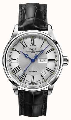 Ball Watch Company Trainmaster Roman Automatic Crockodile Strap White Dial NM1058D-L4J-WH