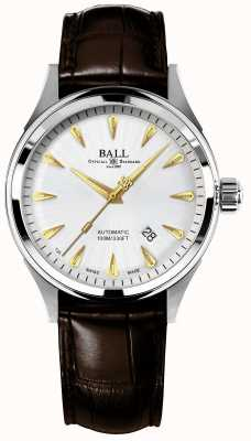 Ball Watch Company Fireman Racer Classic Automatic Crockodile Strap Silver Dial NM2288C-LJ-SL